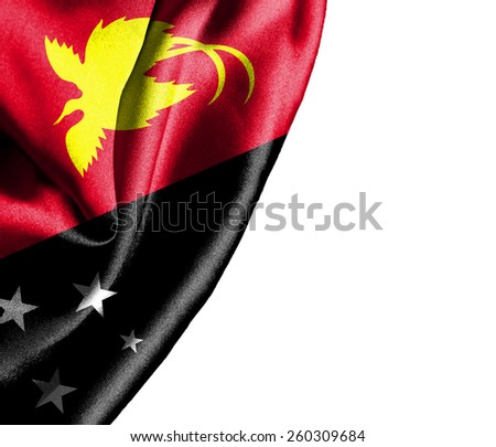Papua New Guinea waving silky flag isolated on white background - stock photo