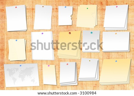 Papyrus board with different pieces of paper attached to it