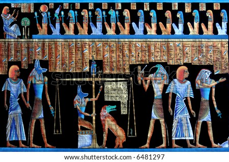 Papyrus with elements of egyptian ancient civilization - stock photo