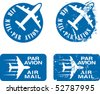 Par Avion or air mail rubber stamps. Grunge and clean illustration. - stock vector