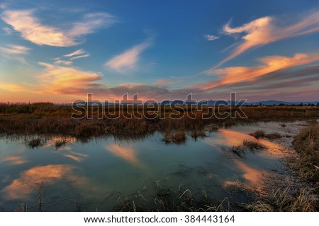 Parabolic, playful clouds illuminated by the sunset; marsh and faraway mountains - stock photo
