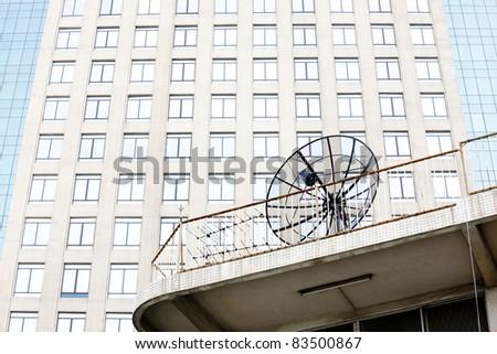 Parabolic satellite dish space technology receiver - stock photo