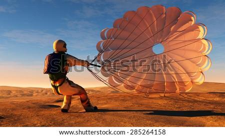Parachutist a parachute in the sky. - stock photo