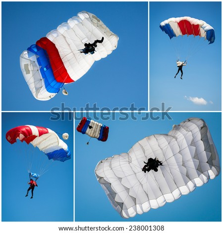 Parachutist collage - stock photo