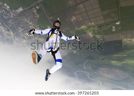 Parachutist in the head-down position.