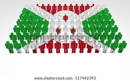 Parade of 3d people forming a top view of Burundian flag. With copyspace.