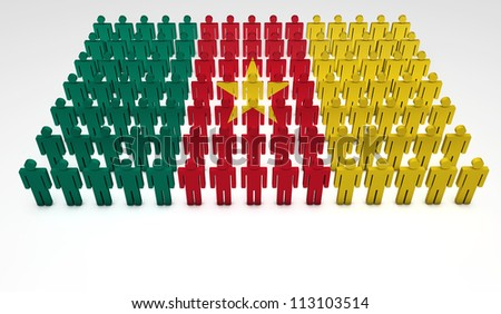 Parade of 3d people forming a top view of Cameroon flag. With copyspace.