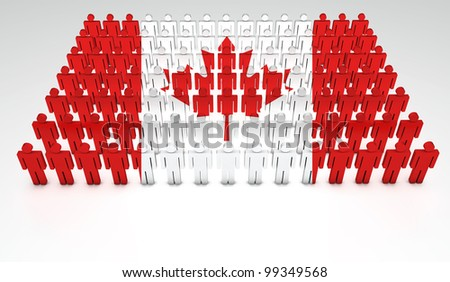 Parade of 3d people forming a top view of Canadian flag. With copyspace. - stock photo