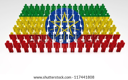 Parade of 3d people forming a top view of Ethiopian flag. With copyspace. - stock photo