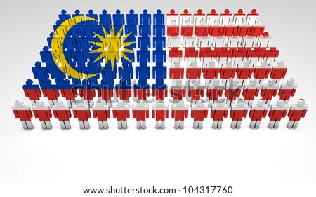 Parade of 3d people forming a top view of Malaysian flag. With copyspace.