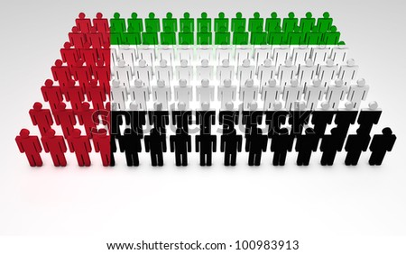 Parade of 3d people forming a top view of United Arab Emirates flag. With copyspace.