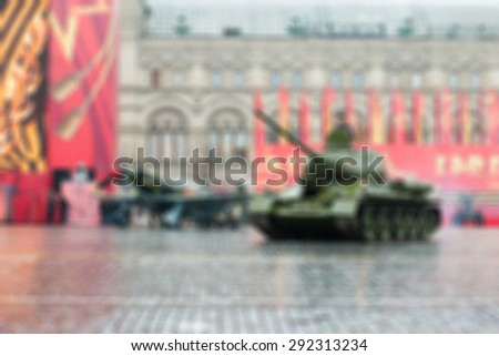 Parade on Red Square in Moscow blur background with bokeh effect - stock photo