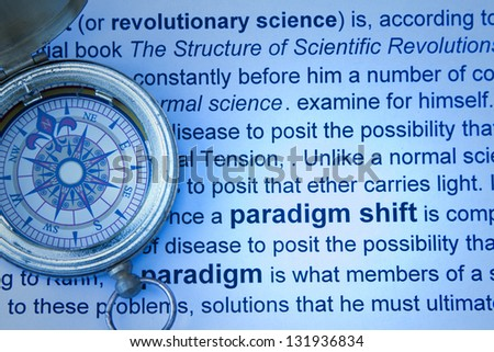 Paradigm shift concept with compass and print. - stock photo