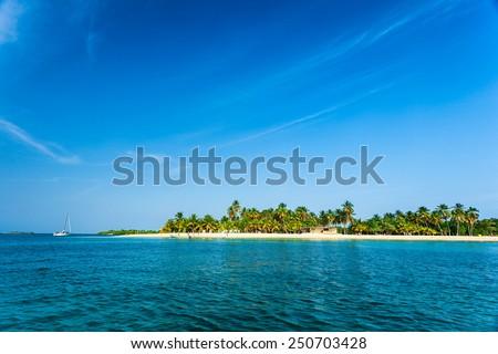Paradisaical Caribbean island with coconut trees, white sand and deep blue sky. - stock photo