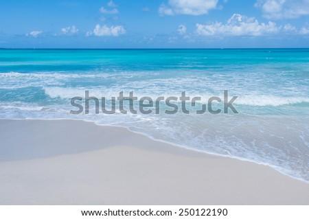 Paradisaical Caribbean island with deep blue waters, white sand beach. Los Roques, Venezuela - stock photo