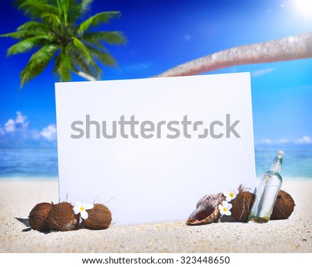 Paradise Beach Display Copy Space Message Blank Concept - stock photo