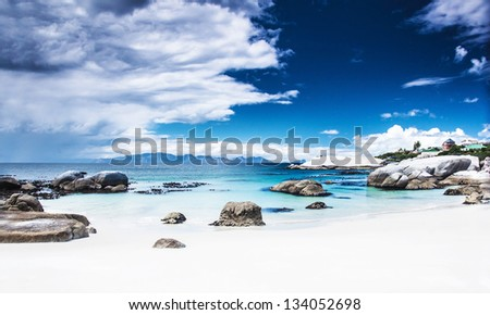 Paradise beach landscape, peaceful relaxing seaview, stunnig nature scene, Nature Reserve near Cape Town, Western Cape, South Africa - stock photo