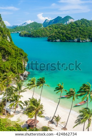 Paradise beach on tropical island. Ang Thong National Marine Park,Thailand. Top view - stock photo