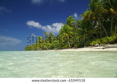 Paradise beach with transparent water in Bora Bora, French Polynesia - stock photo