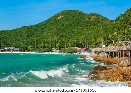 Paradise Beach With Wooden Bridge At Island