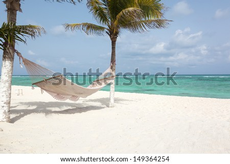 Paradise Caribbean beach in Mexico - stock photo