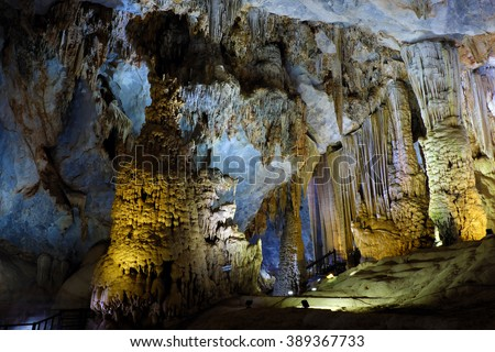 Paradise cave, an amazing, wonderful cavern at Bo Trach, Quang Binh, Vietnam, underground beautiful place for travel, heritage national with impression formation, abstract shape from stalactite