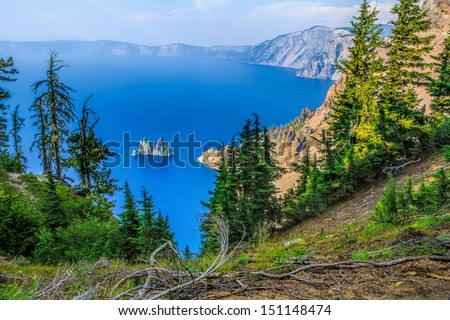 Paradise Island in Crater Lake National Park, Oregon - stock photo