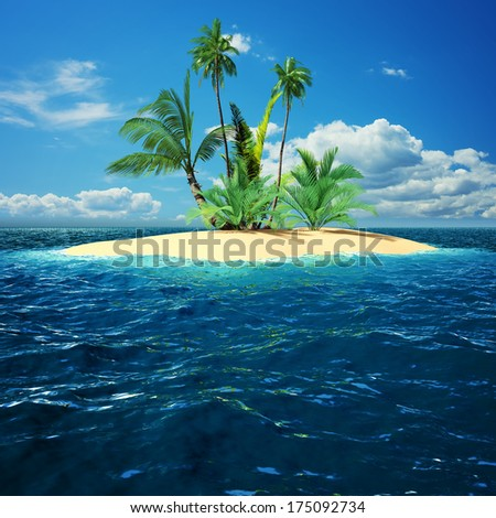 Paradise island in ocean with palm trees - stock photo