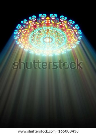 paradise light passes through the glass of church - stock photo