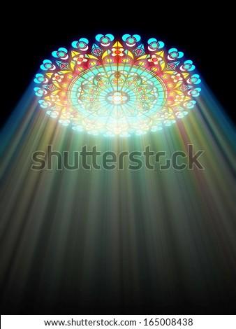 paradise light passes through the glass of church - stock photo