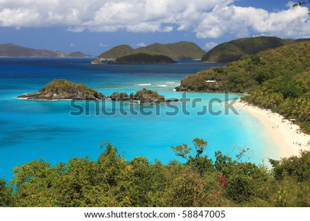 Paradise-like US Virgin Islands in the Caribbean. Turquoise ocean and lovely landscapes., Paradise-like US Virgin Islands in the Caribbean. Turquoise ocean and lovely landscapes. - stock photo
