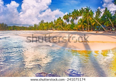 Paradise nature, sea and hotel house on the tropical beach. - stock photo