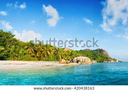 paradise on earth : anse source d'argent beach on la digue island in seychelles