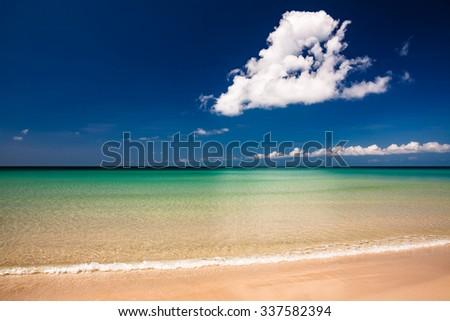 Paradise sand beach on sunny day malaysia tip of borneo - stock photo