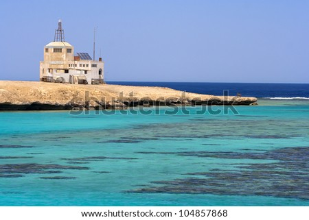 Paradise sea coast with coral reefs - stock photo