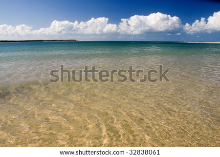 Paradise - the narrow channel between Inskip Point and Fraser Island - stock photo