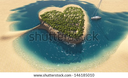 Paradise tropical island in the form of heart made in 3d software - stock photo