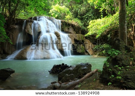 Paradise Waterfall (Huay Mae Kamin Waterfall) in Kanchanaburi, Thailand. - stock photo