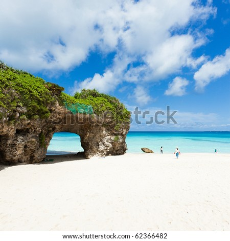 Paradise white sand coral beach with clear blue tropical sea of Okinawa, Miyako Island, Japan