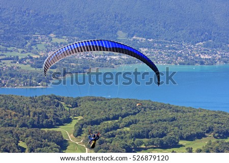 Paraglider above Lake Annecy