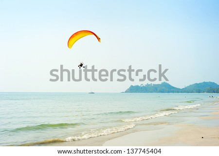 Paraglider at the tropical beach on Koh Chang island, Thailand