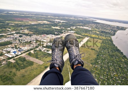 Paraglider's boots - stock photo