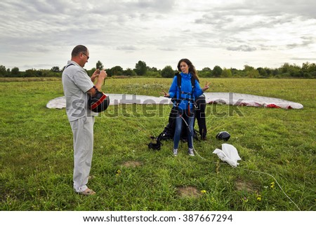 Paraglider tandem  - stock photo