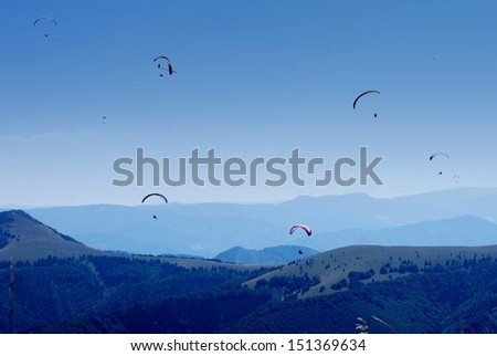 Paragliding in Donovaly resort, Slovakia  - stock photo