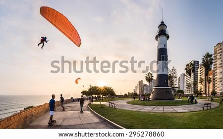 Paragliding in Miraflores, Peru. - stock photo