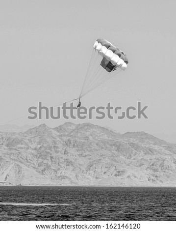Paragliding in the clear sky above the Red Sea - Eilat, Israel (black and white) - stock photo