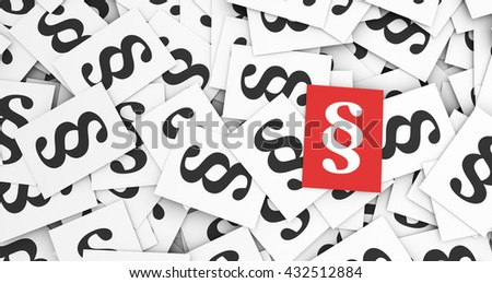 Paragraph concept law and legal rules with a red paragraph symbol and icon on top of many scattered paragraphs paper notes 3d illustration background.