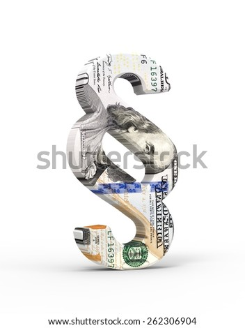 Paragraph sign with dollar bill isolated over white. Computer generated 3D photo rendering. - stock photo