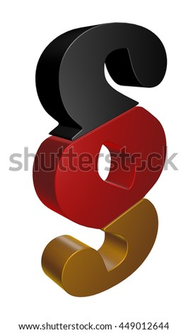 paragraph symbol in german colors - 3d rendering - stock photo