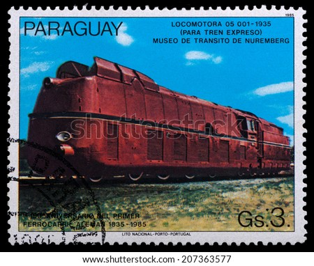 PARAGUAY - CIRCA 1985: A post stamp printed in Paraguay shows old locomotive, circa 1985
